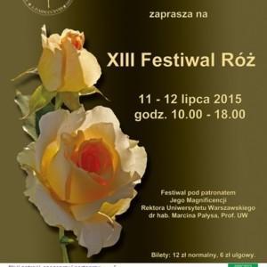 XIII Festiwal Róż w Ogrodzie Botanicznym UW w Warszawie