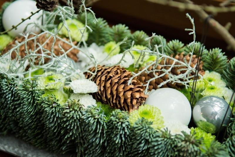 Zielony stroik świąteczny