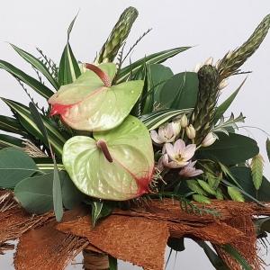 Naturalny, zielony bukiet z anthurium na kryzie z kory palmowej - krok po kroku
